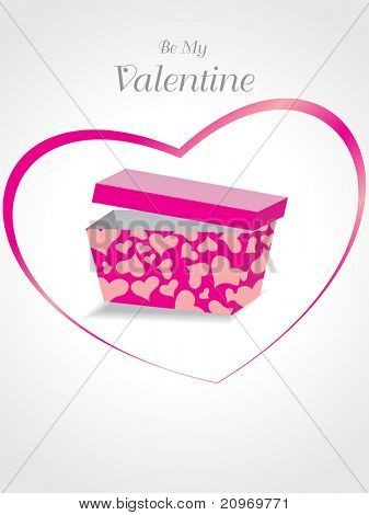 background with gift box, pink heart shape for valentine day