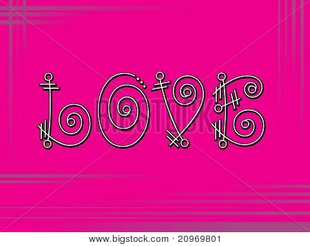 abstract pink background with artistic love text