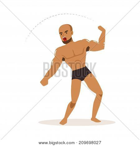 Cartoon character of wrestler in fighting action. Professional mixed martial artist. Young bearded muscularity fighter. Man s active combat sport. Vector illustration isolated on white background.
