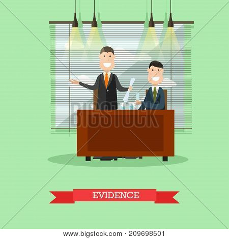 Vector illustration of happy lawyer providing the court with the proof of his client innocence. Evidence flat style design element