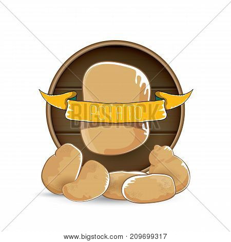 vector sweet brown potato label with pile of potatoes isolated on wooden round background. potato label design template for stickers, banners, posters and restaurant or cafe menu
