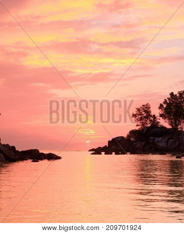 Purple Sunrise Over Water
