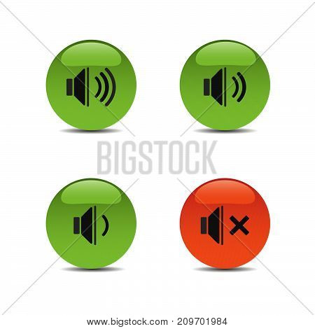 Sound icons on colored buttons and white background. Vector illustration