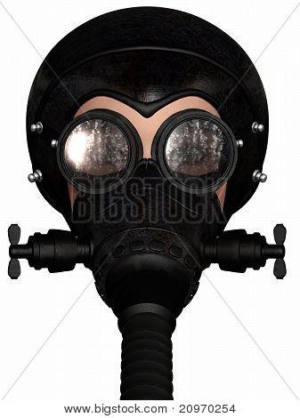 Girl in gasmask