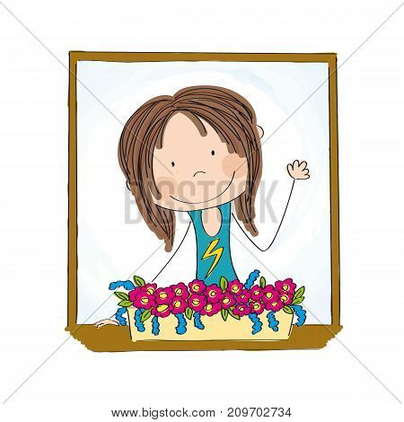 Young happy girl looking out of the window full of flowers smiling wawing greeting - original hand drawn illustration