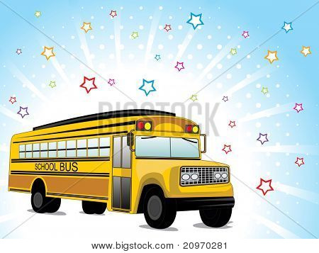 abstract rays, colorful star background with school bus, vector illustration