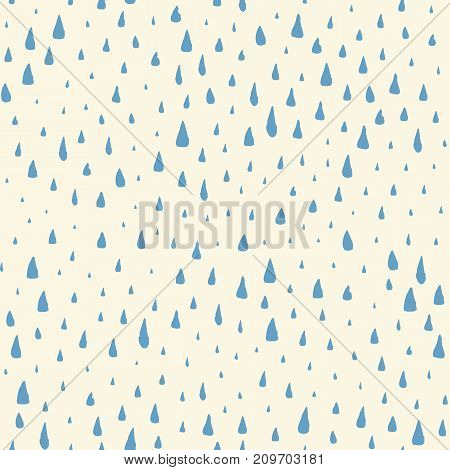 Seamless pattern with hand painted rain drops. Graphic design element for poster, stationary, fabric, scrapbook, baby shower card, wedding invitation. Grunge brush stroke texture. Vector illustration