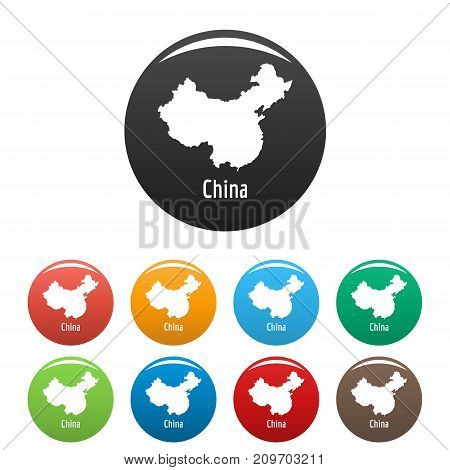 China map in black set. Simple illustration of China map vector isolated on white background