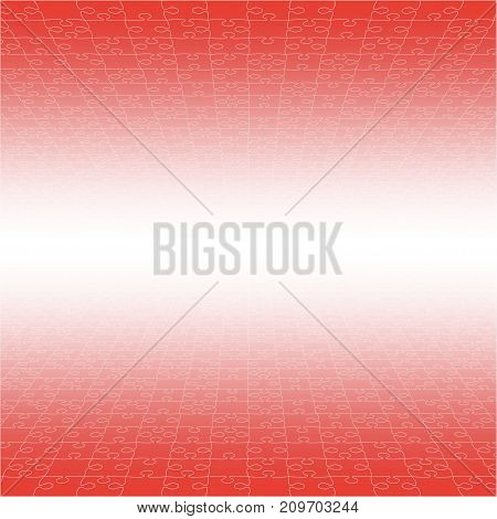 Perspective Red Puzzles Pieces - Vector Illustration. Jigsaw Puzzle Blank Template. Vector Background.
