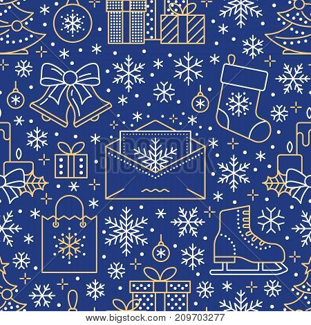 Christmas, new year seamless pattern, line illustration. Vector icons of winter holidays christmas tree, gifts, letter to santa, presents, jingle bells. Celebration party blue repeated background.