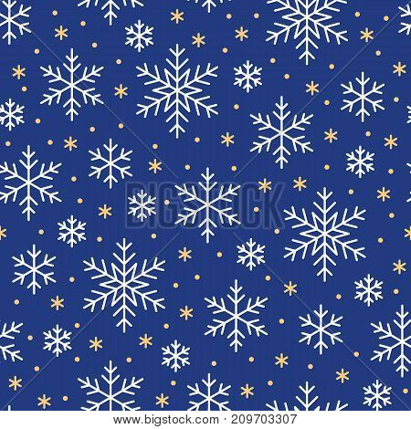Christmas, new year seamless pattern, snowflakes line illustration. Vector icons of winter holidays, cold season snow flakes, snowfall. Celebration party blue white repeated background.