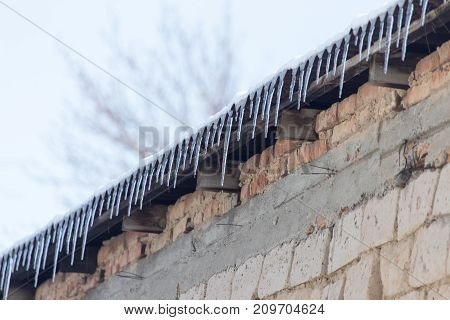 Icicles hanging from roof . In the park in nature