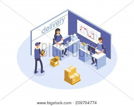 Fast delivery concept. Office workers, logistic operators. Product goods shipping transport. Isometric illustration.