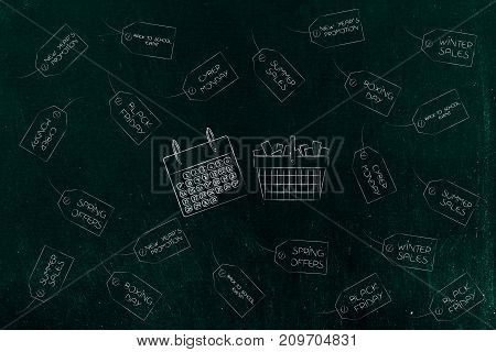 Calendar And Full Shopping Basket Surrounded By Reduction Tags