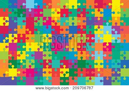 150 Multicolor Puzzles Pieces Arranged in a Rectangle - Vector Illustration. Jigsaw Puzzle Blank Template. Vector Background.