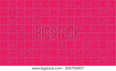 112 Pink Puzzles Pieces Arranged in a Square - Vector Illustration. Jigsaw Puzzle Blank Template or Cutting Guidelines. Vector Background.