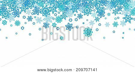 Seamless border snowflakes isolated on white background. Site header. Art vector illustration.