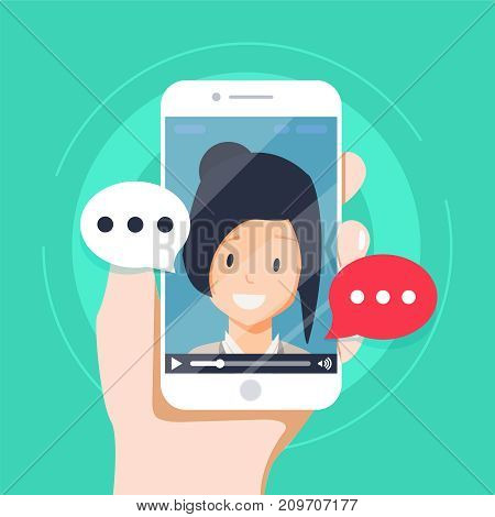 Video chatting online on smartphone vector illustration, flat cartoon video player window with speaking happy girl and bubble speeches messages on phone, concept of on-line chat app, internet talk call