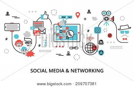 Modern flat line design vector illustration concept of social media social networking web communtity and posting news for graphic and web design
