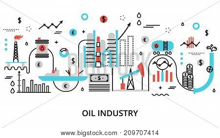 Modern flat thin line design vector illustration concept of oil indusrty for graphic and web design