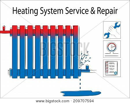 Heating system service and repair.Illustration with leaky heating radiator.Service icon illustration