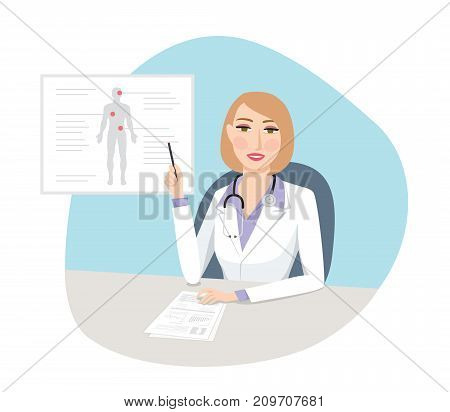 Female physician - Confident female doctor explaining diagnosis and treatment with laboratorial results