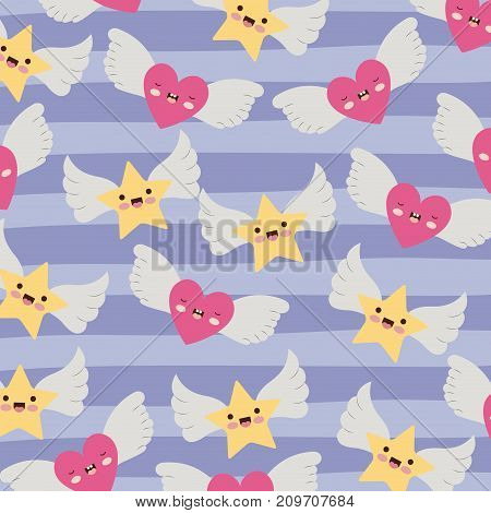 stars and hearts with wings pattern and lines colorful background vector illustration