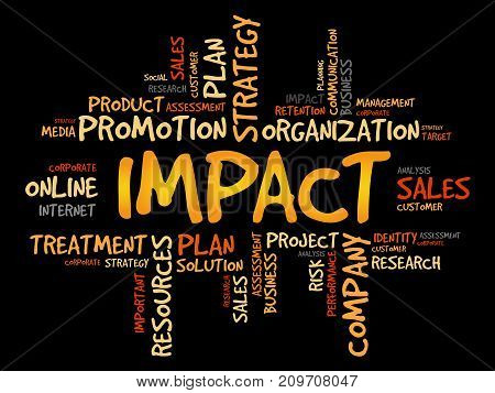 IMPACT word cloud collage , business concept background