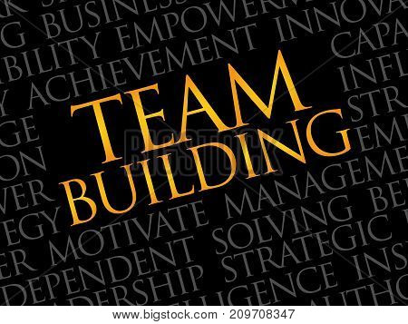 Team Building word cloud collage , business concept background