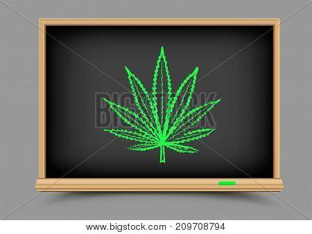 Blackboard hemp cannabis drug on gray background. Education school narcotic marijuana lesson