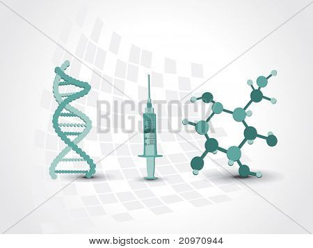 medical background with dna, atomic structure and syringe