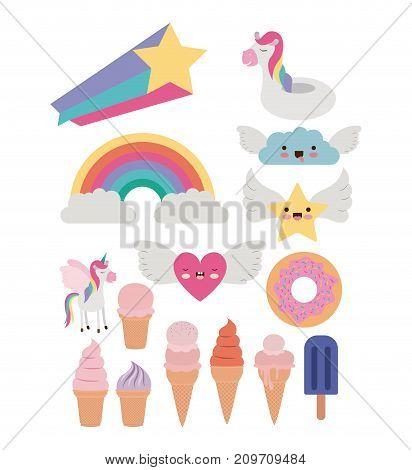 fantasy set of donut and cloud and heart and star with wings and rainbow and inflatable unicorn and ice creams in white background vector illustration