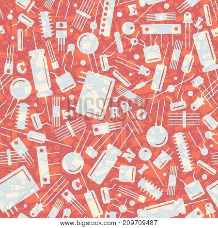 Industrial seamless pattern with transparent electronic transistors on red background flat vector illustration