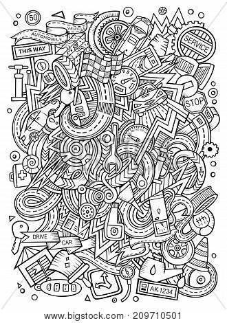 Cartoon cute doodles hand drawn Autumotive illustration. Line art detailed, with lots of objects background. Funny vector artwork. Sketchy picture with cuisine theme items