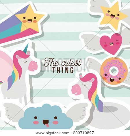 the cutest thing poster with unicorns rainbows stars cloud heart and donut with wings and colorful lines background vector illustration