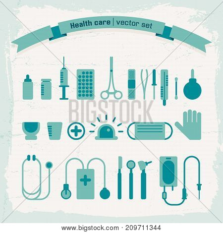 Medical tools and instruments icons set isolated on textured background flat vector illustration