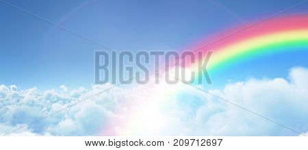 Graphic image of rainbow against view of overcast against blue sky