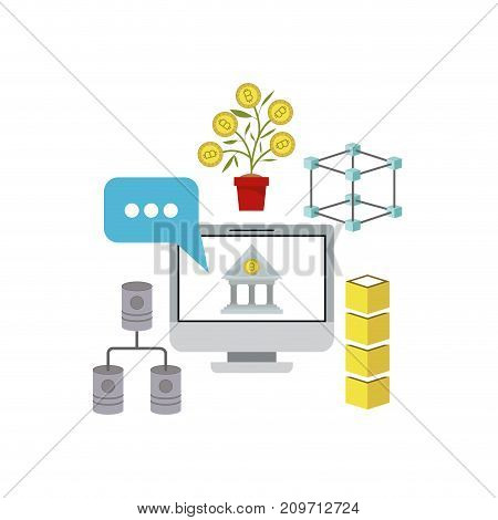 bitcoin investment with desktop computer and financial growing vector illustration