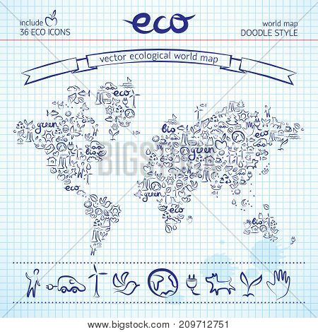 Hand drawn earth map composed of ecological line icons drawn in ink on plaid paper vector illustration