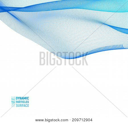 Abstract vector illustration of waves with particles on light background. Futuristic background with lines of many dots. Flowing surface. Design for poster, cover, banner
