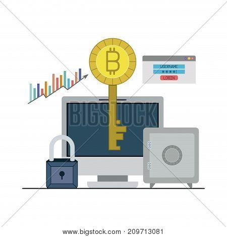 bitcoin key login closeup with desktop computer and safe vector illustration