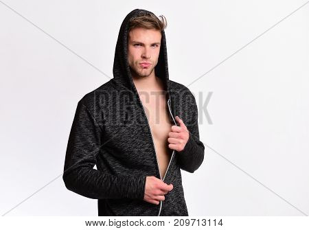 Sports Fashion Concept. Athlete With Messy Hair And Naked Torso