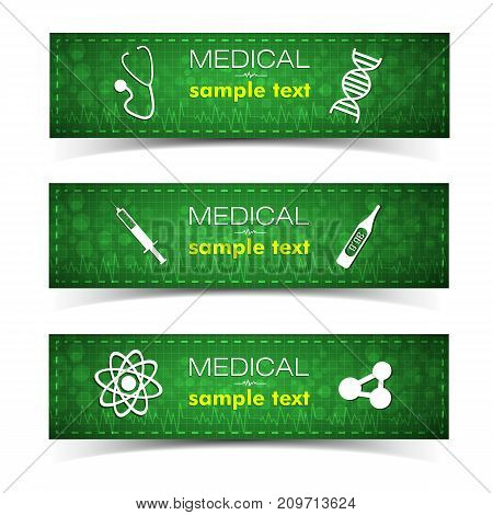 Medicine and pharmacy horizontal banners set with medical treatment symbols flat isolated vector illustration