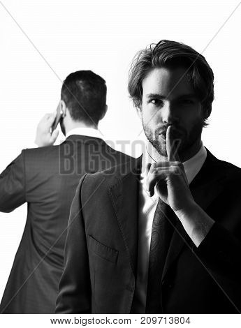 Diversion And Sabotage, Corruption, Man Showing Hush, Businessman With Phone