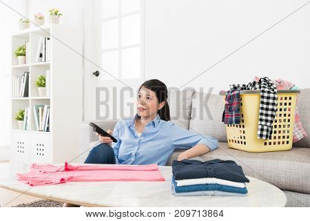 Pretty Housewife Folding Family Messy Clothing
