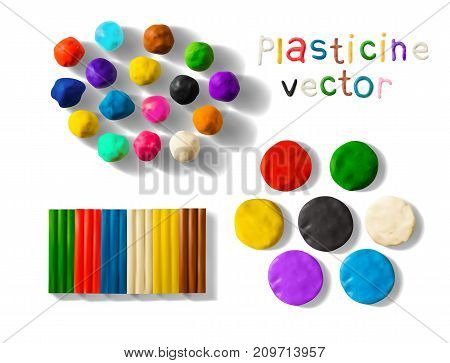 Color plasticine set isolated on a white background. Modeling Clay balls, bricks and palettes. 3d Vector illustration. Creative putty-like material for children's play