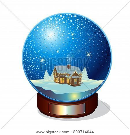 Merry christmas glass snow ball with winter landscape and log cabin