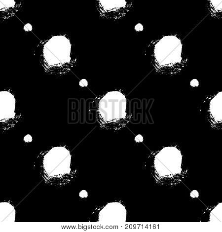 Vector seamless pattern. Black and white round brush strokes. Grungy hand drawn circles. Abstract paint spots, polka dot arranged in diagonal lines