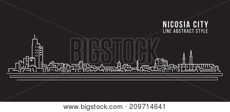 Cityscape Building Line art Vector Illustration design - Nicosia city