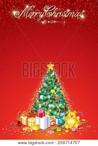 Festive Celebration Christmas Vertical Vector Background with Decorated Xmas Tree